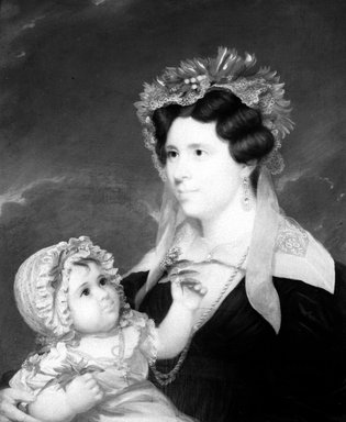 John  Wesley Jarvis (American, 1780-1840). <em>Mrs. Eleanor Doran and Her Daughter Margaret</em>, ca. 1830-1834. Oil on canvas, 29 3/4 x 24 7/8 in. (75.5 x 63.2 cm). Brooklyn Museum, Carll H. de Silver Fund, 33.4.2 (Photo: Brooklyn Museum, 33.4.2_bw.jpg)