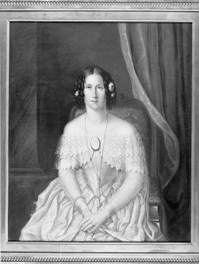 Charles Backofen (American, born circa 1801, active in New York, 1850-1860). <em>Mrs. Joseph Kelly</em>, 1850. Oil on canvas, 41 9/16 x 35 3/16 in. (105.5 x 89.3 cm). Brooklyn Museum, Gift of Virginia E. Clarke, 33.4.3 (Photo: Brooklyn Museum, 33.4.3_acetate_bw.jpg)