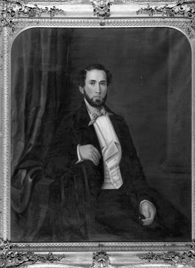 Charles Backofen (American, born circa 1801, active in New York, 1850-1860). <em>Mr. Joseph Kelly</em>, 1850. Oil on canvas, 41 7/16 x 35 1/4 in. (105.2 x 89.5 cm). Brooklyn Museum, Gift of Virginia E. Clarke, 33.4.4 (Photo: Brooklyn Museum, 33.4.4_acetate_bw.jpg)