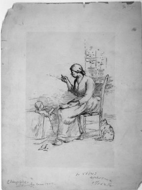 Elliott Daingerfield (American, 1859-1932). <em>Woman Feeding a Child</em>, n.d. Charcoal and possibly graphite on paper, Sheet: 16 1/2 x 12 9/16 in. (41.9 x 31.9 cm). Brooklyn Museum, 33.420. © artist or artist's estate (Photo: Brooklyn Museum, 33.420_bw_IMLS.jpg)