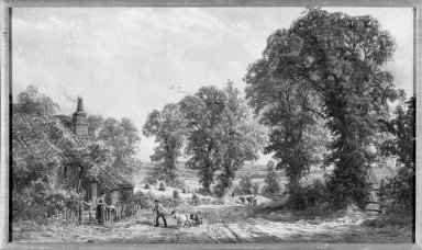 John Faulkner (Irish, Active 1852-1890). <em>Harrow on the Hill</em>. Watercolor, 17 5/16 x 29 9/16 in.  (44.0 x 75.1 cm). Brooklyn Museum, Gift of Mrs. Henry Wolf, Austin M. Wolf, and Hamilton A. Wolf, 33.42 (Photo: Brooklyn Museum, 33.42_acetate_bw.jpg)