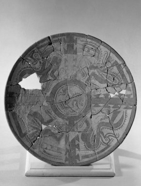 <em>Plate</em>. Ceramic, pigment Brooklyn Museum, Museum Expedition 1931, Museum Collection Fund, 33.448.24. Creative Commons-BY (Photo: Brooklyn Museum, 33.448.24_acetate_bw.jpg)