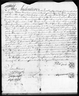 <em>Document, INDENTURE SIGNED BY PETER LEFFERTS</em>, July 20, 1784. Parchment, 16 9/16 x 13 3/16 in. (42 x 33.5 cm). Brooklyn Museum, Gift of Amy Schneidecker, 33.455 (Photo: Brooklyn Museum, 33.455_recto_bw.jpg)