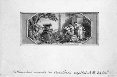 Edward Francis Burney (British, 1760-1848). <em>Callimachus Invents the Corinthian Capital</em>. Pen and ink in sepia wash on wove paper, 3 1/8 x 4 1/2 in. (8 x 11.5 cm). Brooklyn Museum, Gift of Spencer Bickerton, 33.464 (Photo: Brooklyn Museum, 33.464DUP1_bw.jpg)