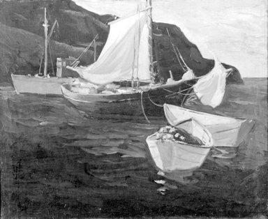 Eric Hudson (American, 1864-1932). <em>Fishing Boats, Monhegan</em>, ca.1922-1930. Oil on canvas, 27 15/16 x 34 1/16 in. (71 x 86.5 cm). Brooklyn Museum, Carll H. de Silver Fund, 33.528 (Photo: Brooklyn Museum, 33.528_acetate_bw.jpg)