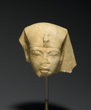<em>Head from a Shabty of King Akhenaten</em>, ca. 1352-1336 B.C.E. Limestone, 2 13/16 x 2 3/4 x 2 3/4 in. (7.2 x 7 x 7 cm). Brooklyn Museum, Charles Edwin Wilbour Fund, 33.52. Creative Commons-BY (Photo: Brooklyn Museum, 33.52_PS2.jpg)