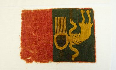 Paracas. <em>Textile Fragment with Skeletal Figure</em>, 100 B.C.E.-1 C.E. Cotton, camelid fibers, frag. a: 7 1/2 x 8 3/4 in. (19.1 x 22.2 cm). Brooklyn Museum, A. Augustus Healy Fund, 33.570a-b (Photo: Brooklyn Museum, 33.570b_front_PS5.jpg)
