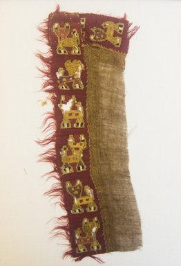 Chimú. <em>Textile Fragment, undetermined</em>, 1000-1400. Cotton, camelid fiber, 3 9/16 x 9 1/16 in. (9 x 23 cm). Brooklyn Museum, A. Augustus Healy Fund, 33.575. Creative Commons-BY (Photo: Brooklyn Museum, 33.575_front_PS5.jpg)