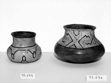 Conibo. <em>Small Pot</em>. Pottery Brooklyn Museum, Museum Expedition 1933, Purchased with funds given by Jesse Metcalf, 33.633. Creative Commons-BY (Photo: , 33.633_33.634_bw.jpg)