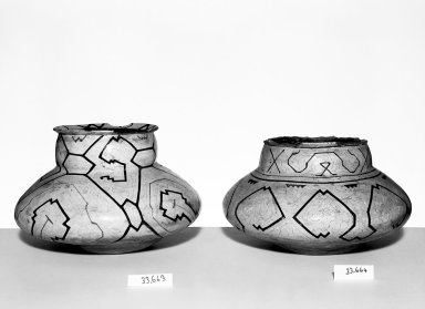 Conibo. <em>Pot</em>. Ceramic, pigment, 7 1/16 x 5 1/2 x 5 1/2 in. (18 x 14 x 14 cm). Brooklyn Museum, Museum Expedition 1933, Purchased with funds given by Jesse Metcalf, 33.663. Creative Commons-BY (Photo: , 33.663_33.664_bw.jpg)