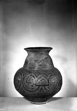 <em>Jar</em>. Painted pottery, 14 15/16 x 7 7/8 in. (38 x 20 cm). Brooklyn Museum, Museum Expedition 1933, Purchased with funds given by Jesse Metcalf, 33.671. Creative Commons-BY (Photo: Brooklyn Museum, 33.671_acetate_bw.jpg)