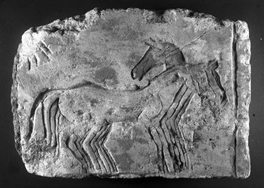 <em>Relief Fragment with Horses</em>, ca. 1352-1336 B.C.E. Limestone, pigment, 9 1/4 x 12 15/16 x 2 3/4 in. (23.5 x 32.8 x 7 cm). Brooklyn Museum, Gift of the Egypt Exploration Society, 33.687. Creative Commons-BY (Photo: Brooklyn Museum, 33.687_bw_IMLS.jpg)