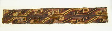 Paracas. <em>Textile Fragment</em>, 0-200 C.E. Camelid fiber, 3 3/8 x 23 5/8 in. (8.5 x 60 cm). Brooklyn Museum, 33.703. Creative Commons-BY (Photo: Brooklyn Museum, 33.703_front_PS5.jpg)