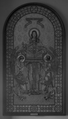 The J. and R. Lamb Studios. <em>St. Cecilia</em>, 1933. Mosaic, Image: 134 3/4 x 72 in. (342.3 x 182.9 cm). Brooklyn Museum, Bequest of Ina L. Thursby, 33.721. Creative Commons-BY (Photo: Brooklyn Museum, 33.721_glass_bw.jpg)