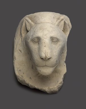 <em>Sculptor's Model Head of a Lioness</em>, 332-30 B.C.E. Limestone, 9 5/8 x 6 7/8 x 7 3/16 in. (24.5 x 17.5 x 18.3 cm). Brooklyn Museum, Charles Edwin Wilbour Fund, 34.1002. Creative Commons-BY (Photo: Brooklyn Museum, 34.1002_edited_PS9.jpg)