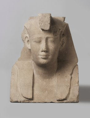 <em>Sculptor's Model of a Royal Head</em>, 381–2nd century B.C.E. Limestone, 9 1/4 x 7 1/8 x 4 7/16 in. (23.5 x 18.1 x 11.2 cm). Brooklyn Museum, Charles Edwin Wilbour Fund, 34.1004. Creative Commons-BY (Photo: Brooklyn Museum, 34.1004_PS11.jpg)