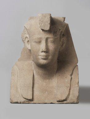 <em>Sculptor's Model of a Royal Head</em>, 381–2nd century B.C.E. Limestone, 9 1/4 x 7 1/8 x 4 7/16 in. (23.5 x 18.1 x 11.2 cm). Brooklyn Museum, Charles Edwin Wilbour Fund, 34.1004. Creative Commons-BY (Photo: Brooklyn Museum, 34.1004_PS11.jpg)