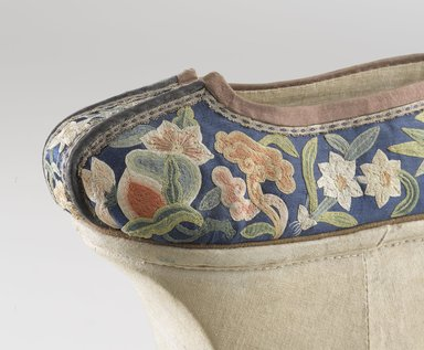 Chinese. <em>Manchu Woman's Shoes</em>, 19th century (probably). Wood, textile, embroidered satin-weave silk, suede piping, 8 ½ x 8 x 3 ¼ in. each (overall). Brooklyn Museum, Brooklyn Museum Collection, 34.1057a-b. Creative Commons-BY (Photo: Brooklyn Museum, 34.1057a_detail_PS9.jpg)