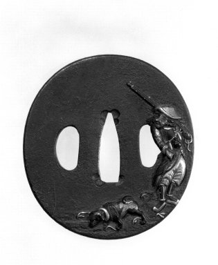 <em>Sword Guard</em>, late 18th-19th century. Iron with shakudo, copper, and gilding, 2 3/4 x 2 9/16 in. (7 x 6.5 cm). Brooklyn Museum, Gift of Mrs. Gustav Bissing, 34.1122. Creative Commons-BY (Photo: Brooklyn Museum, 34.1122_view1_bw.jpg)