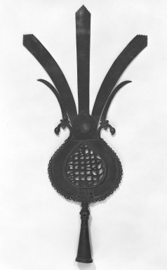 <em>Ceremonial Standard Head</em>, 18th century. Brass, L: 20 3/8 in. (51.8 cm). Brooklyn Museum, Brooklyn Museum Collection, 34.114. Creative Commons-BY (Photo: Brooklyn Museum, 34.114_bw.jpg)