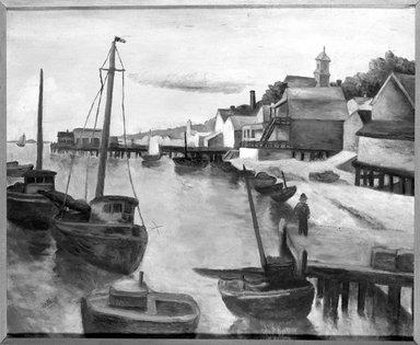 Henry A. Botkin (American, 1896-1983). <em>Waterfront</em>. Oil on canvas, 29 x 34 in. (73.7 x 86.4 cm). Brooklyn Museum, Gift of George Gershwin, 34.1157 (Photo: Brooklyn Museum, 34.1157_framed_bw.jpg)