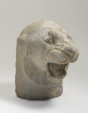 <em>Sculptor's Model Head of a Lion Roaring</em>, ca. 525-404 B.C.E. Limestone, 5 9/16 x 3 3/8 x 5 1/16 in. (14.1 x 8.5 x 12.8 cm). Brooklyn Museum, Charles Edwin Wilbour Fund, 34.1190. Creative Commons-BY (Photo: Brooklyn Museum, 34.1190_threequarter_PS9.jpg)