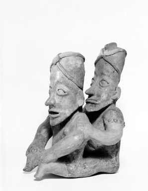 Jalisco. <em>Two Women Sitting One in Back of the Other</em>. Ceramic, 12 5/8 x 8 1/4 x 8 11/16 in. (32 x 21 x 22 cm). Brooklyn Museum, George C. Brackett Fund, 34.1194. Creative Commons-BY (Photo: Brooklyn Museum, 34.1194_bw.jpg)