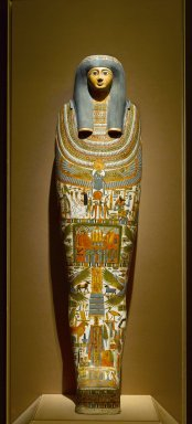 Egyptian. <em>Inner Cartonnage of Gautseshenu</em>, ca. 700-650 B.C.E. Linen, plaster, pigment, human remains, 65 1/4 x 16 1/2 x 11 1/2 in. (165.7 x 41.9 x 29.2 cm). Brooklyn Museum, Charles Edwin Wilbour Fund, 34.1223. Creative Commons-BY (Photo: Brooklyn Museum, 34.1223_front_PS4.jpg)