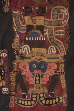 Nazca. <em>Mantle</em>, 100-200. colored wool embroidery and cotton field, 105 1/8 x 54 5/16 in.  (267.0 x 138.0 cm). Brooklyn Museum, Alfred W. Jenkins Fund, 34.1549 (Photo: , 34.1549_detail01_PS11.jpg)