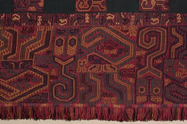 "Paracas Necropolis ""linear"". <em>Mantle</em>, 100 B.C.E.-100 C.E. Camelid fiber, 105 1/8 x 51 15/16 in. (267 x 131.9 cm). Brooklyn Museum, Alfred W. Jenkins Fund, 34.1554. Creative Commons-BY (Photo: , 34.1554_detail01_PS11.jpg)"