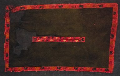 Nazca. <em>Miniature Poncho</em>, 200-600 C.E. Cotton, camelid fiber, 11 x 16 15/16 in. (28 x 43 cm). Brooklyn Museum, Alfred W. Jenkins Fund, 34.1575. Creative Commons-BY (Photo: Brooklyn Museum, 34.1575_front_PS5.jpg)