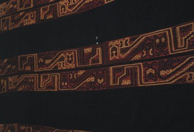 "Paracas Necropolis ""linear"". <em>Mantle?, Fragment or Textile Fragment, Unidentified</em>, 100 B.C.E.-100 C.E. Cotton, camelid fiber, 64 3/16 x 30 5/16 in.  (163 x 77 cm). Brooklyn Museum, Alfred W. Jenkins Fund, 34.1586. Creative Commons-BY (Photo: Brooklyn Museum, 34.1586_detail_SL1.jpg)"