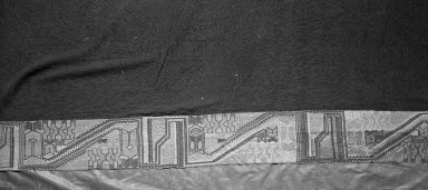 "Paracas Necropolis ""linear"". <em>Mantle or Turban</em>, 100 B.C.E.-600 C.E. Cotton, camelid fiber, 72 13/16 x 36 in.  (185.0 x 91.5 cm). Brooklyn Museum, Alfred W. Jenkins Fund, 34.1591. Creative Commons-BY (Photo: Brooklyn Museum, 34.1591_detail1_acetate_bw.jpg)"