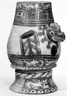 <em>Bird Effigy Vessel</em>, 1000-1350. Ceramic, pigment, 11 1/4 x 7 1/4 x 9 3/4 in. (28.5 x 18.4 x 24.8 cm). Brooklyn Museum, Alfred W. Jenkins Fund, 34.1724. Creative Commons-BY (Photo: Brooklyn Museum, 34.1724_bw.jpg)