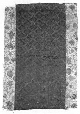 <em>Textile</em>. Brocade, 17 1/2 x 25 in. (44.5 x 63.5 cm). Brooklyn Museum, Gift of Pratt Institute, 34.223. Creative Commons-BY (Photo: Brooklyn Museum, 34.223_bw.jpg)