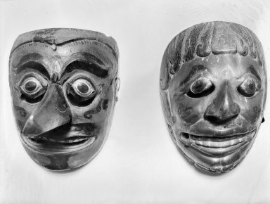 <em>Theatrical Mask</em>, 19th century. Wood, pigment Brooklyn Museum, Brooklyn Museum Collection, 34.40. Creative Commons-BY (Photo: , 34.35_34.40_glass_bw.jpg)
