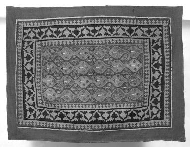 <em>Prayer Mat</em>, 17th-18th century. Flannel, 46 x 61 in. Brooklyn Museum, Gift of Pratt Institute, 34.379. Creative Commons-BY (Photo: Brooklyn Museum, 34.379_bw.jpg)