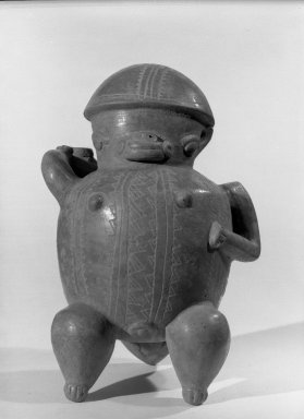 <em>Figurine</em>, 200-1000. Ceramic, 6 1/4 x 4 3/4 x 3 3/4 in. (15.9 x 12.1 x 9.5 cm). Brooklyn Museum, Alfred W. Jenkins Fund, 34.4120. Creative Commons-BY (Photo: Brooklyn Museum, 34.4120_acetate_bw.jpg)