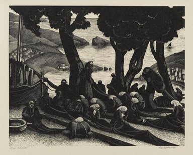 Clare Veronica Hope Leighton (American, born England 1898-1989). <em>The Net Menders</em>, 1933. Woodcut on paper, sheet: 9 1/4 x 11 in. (23.5 x 27.9 cm). Brooklyn Museum, 34.414. © artist or artist's estate (Photo: Brooklyn Museum, 34.414_PS2.jpg)