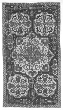<em>Large Rectangular Cushion Cover</em>, early 19th century. Plain cloth weave on cotton with silk embroidery, 116.5 x 28 in. Brooklyn Museum, Gift of Pratt Institute, 34.423. Creative Commons-BY (Photo: Brooklyn Museum, 34.423_bw.jpg)