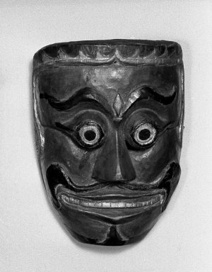 <em>Theatrical Mask</em>, 19th century. Wood, paint, 6 1/4 x 7 1/4 in. (15.9 x 18.4 cm). Brooklyn Museum, Brooklyn Museum Collection, 34.43. Creative Commons-BY (Photo: Brooklyn Museum, 34.43_acetate_bw.jpg)