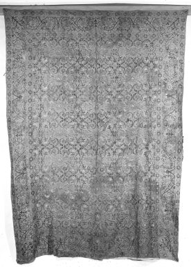 <em>Embroidered Bedspread</em>. Linen, silk, printed linen backing, 46 x 80 in. (116.8 x 203.2 cm). Brooklyn Museum, Gift of Pratt Institute, 34.440. Creative Commons-BY (Photo: Brooklyn Museum, 34.440_front_bw.jpg)