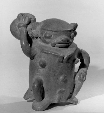 <em>Human Figurine</em>, 500-800. Ceramic, 4 7/8 x 4 x 4 1/4 in. (12.4 x 10.2 x 10.8 cm). Brooklyn Museum, Alfred W. Jenkins Fund, 34.4686. Creative Commons-BY (Photo: Brooklyn Museum, 34.4686_acetate_bw.jpg)