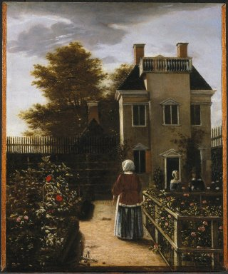 Follower of Pieter de Hooch (Dutch, 1629-1684). <em>Flower Garden</em>, ca. 1660. Oil on panel, 20 1/2 x 17 3/16 in. (52.1 x 43.7 cm). Brooklyn Museum, Gift of the executors of the Estate of Colonel Michael Friedsam, 34.481 (Photo: Brooklyn Museum, 34.481_SL1.jpg)