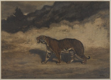 Antoine-Louis Barye (French, 1795-1875). <em>Tiger Walking to the Left (Tigre marchant vers la gauche)</em>, n.d. Pastel and watercolor on cream-colored wove paper mounted on thin paperboard, 10 3/8 x 14 9/16 in. (26.4 x 37 cm). Brooklyn Museum, Gift of the executors of the Estate of Colonel Michael Friedsam, 34.482 (Photo: , 34.482_PS9.jpg)