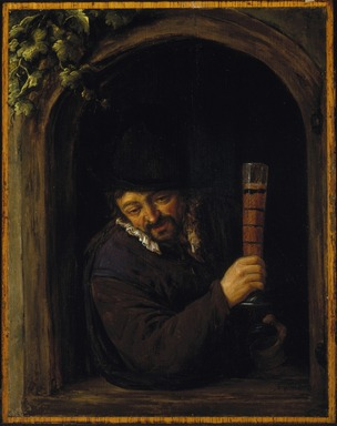 Adriaen van Ostade (Dutch, 1610-1685). <em>Peasant at a Window</em>, ca. 1660. Oil on panel, 10 7/8 x 8 1/2 in. (27.6 x 21.6 cm). Brooklyn Museum, Gift of the executors of the Estate of Colonel Michael Friedsam, 34.483 (Photo: Brooklyn Museum, 34.483_SL1.jpg)