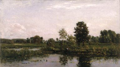 Charles-François Daubigny (French, 1817-1878). <em>A Bend in the River Oise</em>, 1872. Oil on panel, 15 x 26 1/2 in. (38.1 x 67.3 cm). Brooklyn Museum, Gift of the executors of the Estate of Colonel Michael Friedsam, 34.487 (Photo: Brooklyn Museum, 34.487_reference_SL1.jpg)