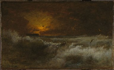 George Inness (American, 1825-1894). <em>Sunset over the Sea</em>, 1887. Oil on panel, 22 1/16 x 36 1/8 in. (56 x 91.8 cm). Brooklyn Museum, Gift of the executors of the Estate of Colonel Michael Friedsam, 34.488 (Photo: Brooklyn Museum, 34.488_SL1.jpg)