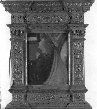 Workshop of Domenico di Tommaso Bigordi, called Domenico Ghirlandaio, School of Florence (Italian, 1449-1494). <em>Praying Saint</em>, 1490s. Tempera on poplar panel, 13 1/2 x 11 1/2 in. (34.3 x 29.2 cm). Brooklyn Museum, Gift of the executors of the Estate of Colonel Michael Friedsam, 34.491b (Photo: Brooklyn Museum, 34.491b_acetate_bw.jpg)
