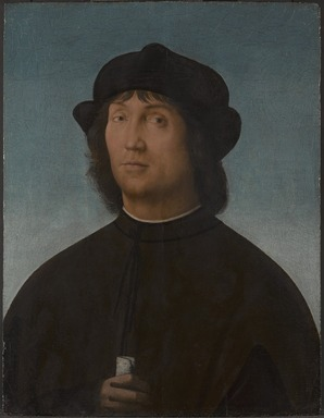 Attributed to Pietro di Cristoforo Vannucci, called Pietro Perugino (Italian, Umbrian, c. 1450-1523). <em>Portrait of a Man</em>, ca. 1490s. Tempera and oil on panel, 22 7/8 x 17 1/2 in. (58.1 x 44.5 cm). Brooklyn Museum, Gift of the executors of the Estate of Colonel Michael Friedsam, 34.497 (Photo: Brooklyn Museum, 34.497_PS9.jpg)